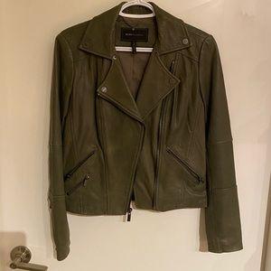 🍸🎀New BCBG Green Leather Biker Jacket🎀🍸